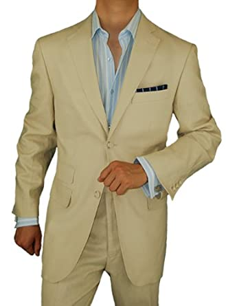 Bianco Brioni Men's Two Button Modern Fit Side-Vent Linen Suit (36 Regular US)