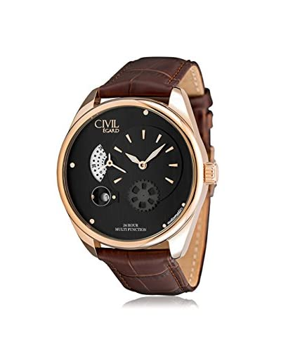 Egard Men's CVL-VNT-ROS Vantage Brown/Black Stainless Steel and Leather Watch