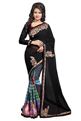 Sourbh Sarees Women's Black And Multicolor Geometric Print Faux Georgette And Chiffon Half Half Saree with Unstitched Blouse Piece