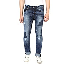 Turtle Men's Navy Blue Low Rise Slim Fit Jeans With Distressed Look