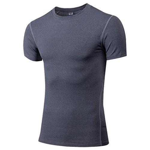 qutool da uomo T-Shirt a manica corta sport Quick-Dry manica corta corsa Camicie, Uomo, grigio, XL