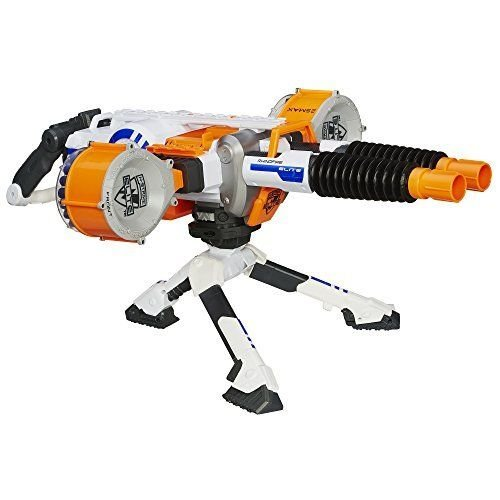 GREAT DOUBLE BARREL NERF MACHINE GUN BLASTER'S 2 DRUMS HOLD 25 ELITE DARTS EACH (Hail Fire Nerf Gun compare prices)