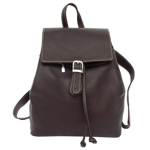 B002KYMKWA Piel Leather Top Flap Drawstring Backpack, Chocolate, One Size