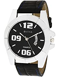 T STAR Black Dial Black Strap Round Analog Watch For Men - TSW-025-M-BK-BK