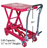 Heavy Duty Mobile 1000lb Hydraulic Table Lift Jack Cart