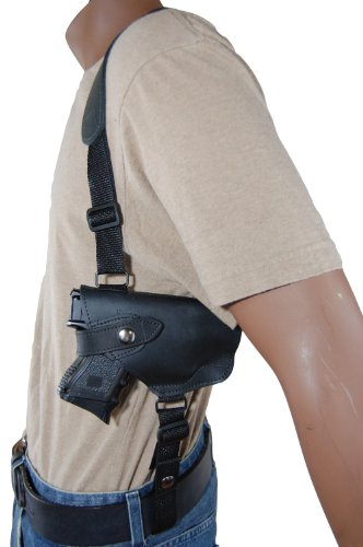 Barsony Black Leather Horizontal Shoulder Holster for Ruger SR9C and SR40C w/ LASER by Barsony Holsters and Belts