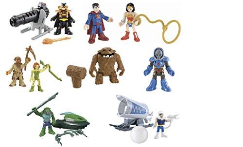 Fisher-Price Imaginext Bundle Set of 7 DC Super Friends: Heat Blast Batman, Superman, Wonder Woman, Scarecrow, Poison Ivy, Clayface, Darseid, Captain Cold, and K. Croc Action Figures