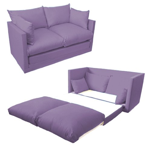 Comfortable Lilac Childrens Kids 100% Cotton Drill 2 Seater Sofa Bed, Easy Pull-out Conversion. From Sofa to Bed in Seconds.