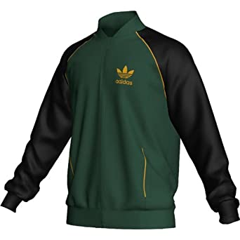 Adidas Men`s Superstar Track Jacket - Dark Green Black Craft Gold by adidas