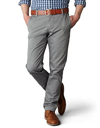 Dockers Men's Alpha Khaki Slim Tapered Flat Front Pant, Gravel, 28x28