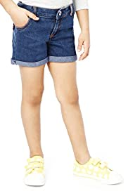 Cotton Rich Adjustable Waistband Denim Shorts