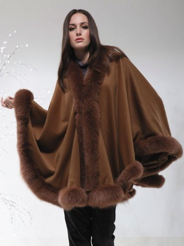 CASHMERE CAPE WITH FOX TRIMMING from Cashmere Pashmina Group