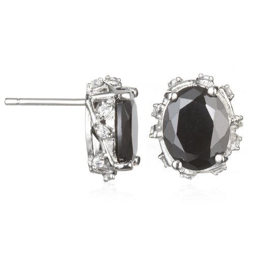 Leaf Gallery Black CZ Stud Earring