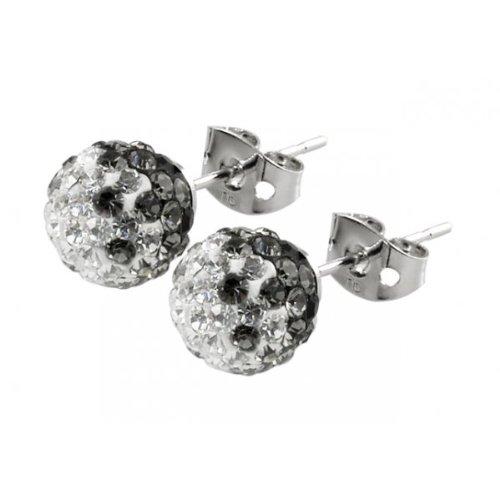 Tresor Paris Le Boulay Black And White Crystal Earrings 8mm