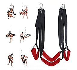 Sex Swing Bondage, Umitering Luxury Heavy Duty Indoor Swing with Steel Triangle Frame and Spring for Fetish Sex Bondage Unisex(Red)