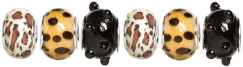 Cousin Trinkettes 6-Piece Glass/Metal Bead, Leopard Print
