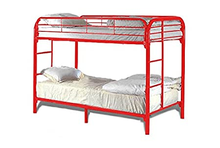 Milton Greens Stars 7540R Dream Maker Twin Over Twin Bunk Bed, Red