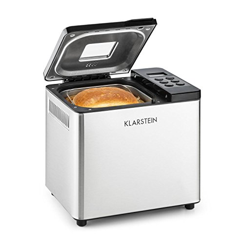Klarstein Krümelmonster Macchina del Pane Home Bread (750 grammi, 550 Watt, 12 programmi, Grado di Doratura Impostabile, Timer) Argento/Nero