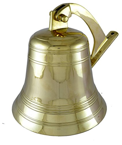 Brass Nautical Brass Bell Ship Bell Doorbell Small Bell US Navy Clock Indian Bells Hanging Bell Brass Bell for Sale Wall Mounted Bell (4 Inch Dia)