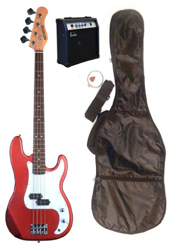 Full Size 43″ Precision P Metallic Red Electric Bass Guitar with 10 Watt Amplifier Pack & DirectlyCheap(TM) Translucent Blue Medium Guitar Pick