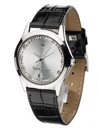 Yves Camani Women's Twinkle Quartz Watch with Silver Dial Analogue Display and Black Leather Bracelet 302-WIPS
