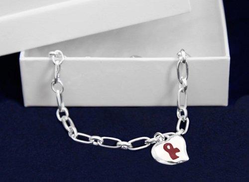 Burgundy Ribbon Bracelet-Silver Linked w/ Puffed Heart (18 Bracelets)