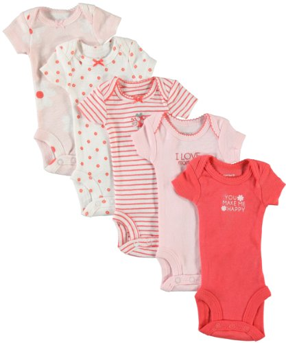 Carter'S Baby Girls' 5-Pack S/S Bodysuits - Pink Poppy - Preemie front-640575