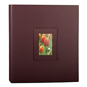 """KVD Kleer-Vu Deluxe Albums Inc. Floramma Collection, Magnetic pages, 80 pages, 8""""x11"""" Large window frame on front cover, Brown"""