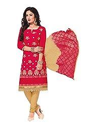 RK Fashion Womens Cotton Un-Stitched Salwar Suit Dupatta Material ( RAJGURU-PAHELI-9269-Red-Free Size )
