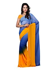Fabdeal Yellow Daily Wear Georgette Printed Saree - B00N5UVUVK