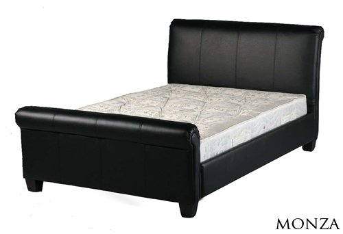 NEW 5ft BLACK FAUX LEATHER SLEIGH KING SIZE SCROLL BED AND SLUMBER SLEEP PREMIUM 2000 MEMORY FOAM MATTRESS