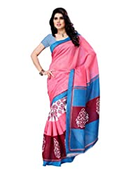 Indian Wear Pink & Sky Blue Chapa Silk Printed Saree