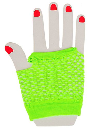 Sexy Neon Green Fishnet Fingerless 80s Rock Costume Half Gloves