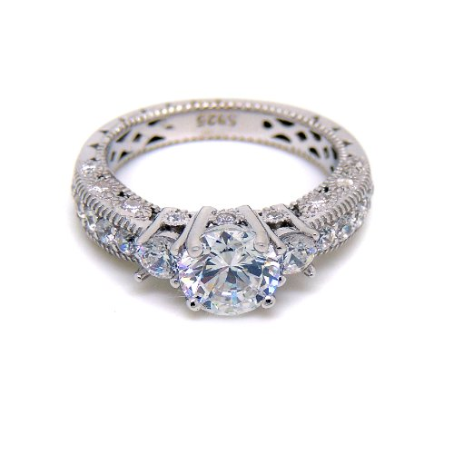 Ginger Lyne Collection – Jasmine Engagement Ring Solid 925 Sterling Silver AAA Quality Cubic Zirconia Size 7