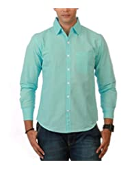 Nick&Jess Mens Sky Blue Linen Slim Fit Shirt