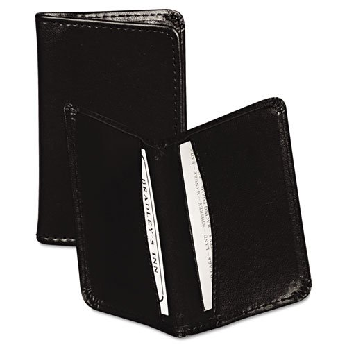 4.Samsill Regal Leather Business Card Wallet, Holds 25 Cards of 4.0 L x 2.0 W Inches, Black (81220)