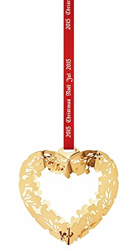 Georg Jensen 3410215 Christmas Ornament 2015, Heart Gold Plated