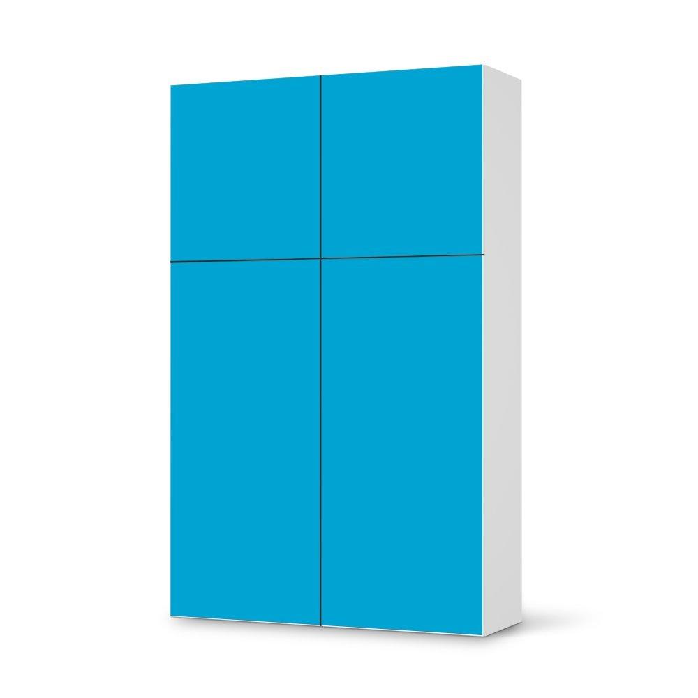 Folie IKEA Besta Schrank Hochkant 4 Türen (2+2) / Design Aufkleber Türkisblau 1 / Dekorationselement günstig online kaufen