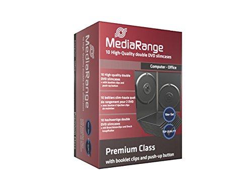 10 custodie per cd e dvd Mediarange slim 9mm doppie a 2 posti come film e videogiochi con tasca trasparente per copertina di alta qualità