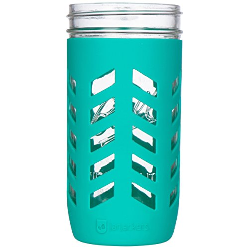 JarJackets Silicone Mason Jar Protector Sleeve - Fits Ball, Kerr 24oz (1.5 pint) Wide-Mouth Jars (Lagoon) - Package of 3 (Juicing Package compare prices)