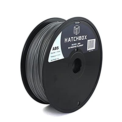 HATCHBOX 1.75mm Silver ABS 3D Printer Filament - 1kg Spool (2.2 lbs) - Dimensional Accuracy +/- 0.05mm
