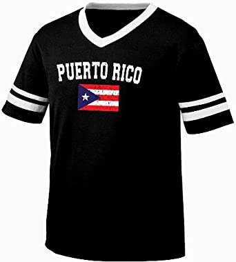 Puerto Rico Flag International Soccer Style V-Neck T-shirt, Puerto Rican National Pride Mens Ringer Shirt, Small, Black/White