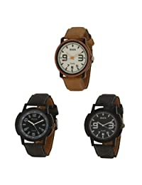 Oura Analog Round Casual Wear Watch For Men Combo Of 3pc