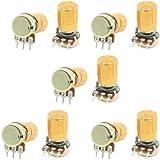 10 Pcs 10K ohm 3 Pins 6mm Split Shaft Rotary Linear Taper Potentiometers w Knob