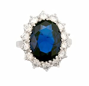 JanKuo Jewelry Silver Tone Royal Family Large Diana Engagement Inspired Ring with Blue Sapphire C.Z. Includes Gift Box (11)