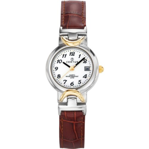 Certus 645338 - Ladies Watch - Analogue Quartz - White Dial - Brown Leather Bracelet