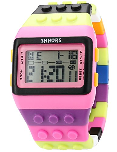 AMPM24 LED088-Orologio da polso unisex,Gomma,Fashion Digitale LCD Display Sveglia Cronograph,colore:Multicolore
