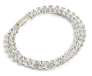 Classic Two Strand Diamante Bracelet - Swarovski Crystal - Silver Finish - Swarovski Crystal Bracelet - Unusual Ladies Gift
