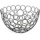 Spectrum 86810 Shapes/Circles Round Fruit Bowl, Black