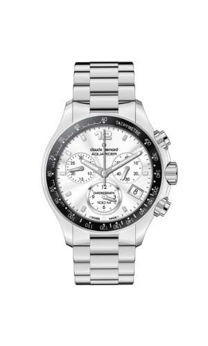 Claude Bernard Women's 10212 3 AIN Aquarider Silver Chronograph Tachymeter Steel Watch